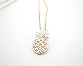 Necklace gold plated pineapple