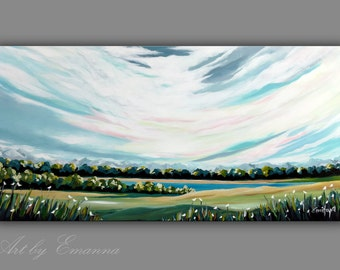"Original Landscape Painting, Contemporary Art, Abstract Landscape Painting, Acrylic on Canvas, Modern Wall Art, 24""x48"" Ready to Hang"