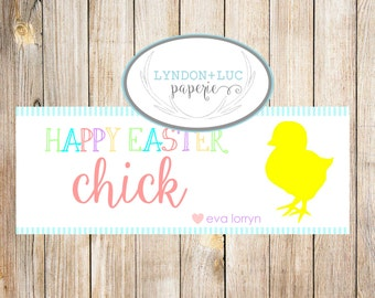 Happy Easter Chick Treat Bag Tags