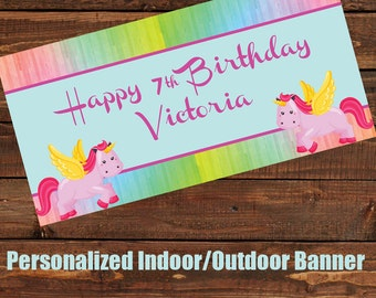 "18""x36"" Rainbow Unicorn Personalized Party Banner"