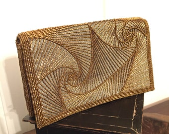 Vintage Hilde Walborg Bronze Glass Beaded Clutch Purse Evening Bag with Gold Snake Chain