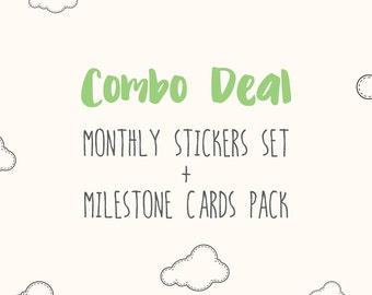 COMBO DEAL - Any Baby Monthly Stickers set PLUS Any Baby Milestone Cards Pack