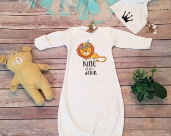 Newborn Boy Coming Home Outfit, Baby Boy Coming Home Outfit, Baby Boy Gift, Baby Sleep Sack, Baby Sleep Gown, Baby Hat,Lion,King of the Crib