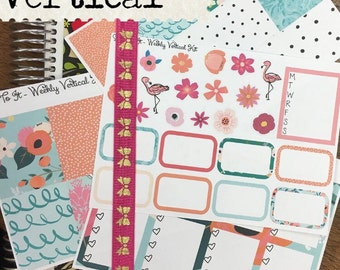 Tropical Flamingo ECLP Weekly Kit Mambi Happy Planner Stickers floral Check Lists Daily Boxes Washi Strips