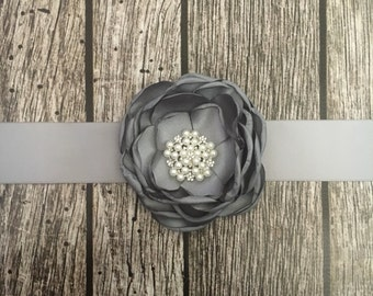 Grey wedding sash, floral wedding sash, all white sash, wedding belt, simple wedding sash, white sash
