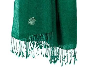 50% cashmere / silk scarf - green (SHKS7)