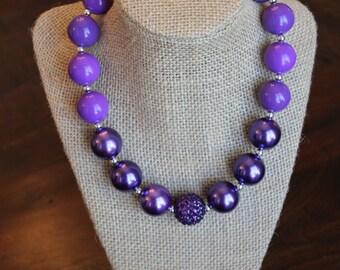 Dark Purple Pearl Bubblegum Necklace