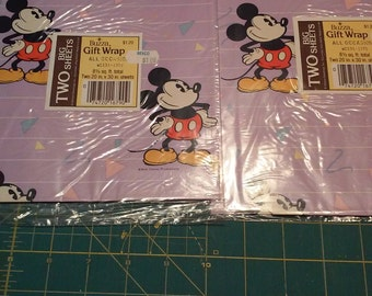 Mickey mouse vintage wrapping paper 2 unopened packs