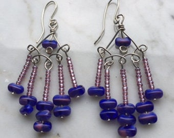 Earrings!!!! Chandelier purple and blue beaded on wire