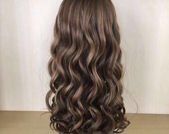 "SUPER SALE 26"" long honey brown highlighted human hair wig"