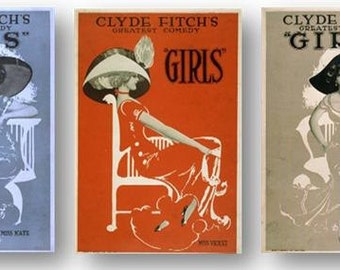 Vintage Clyde Fitch Comedy Girls Comedians Show Set of 3 Prints