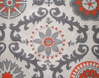 Tailored Valance, Rosa Orange & Gray Contemporary Floral, Lined