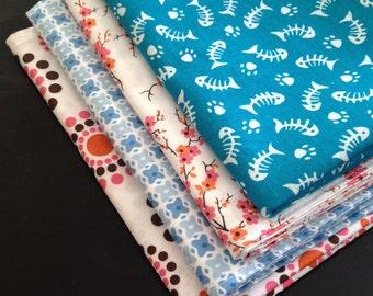 Double Sided 100% Cotton Fabric Napkin Set (4)