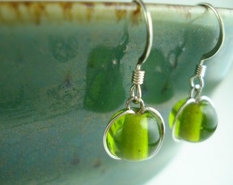 Translucent Pear Green Glass Bead Drop Earrings