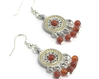 Earrings made of pewter and carnelian, Reconstruction of the IX century, The gift for girl