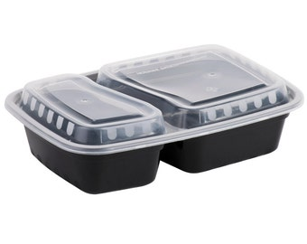 10 Sets of 2 Compartment Meal Prep Containers w/ Lids