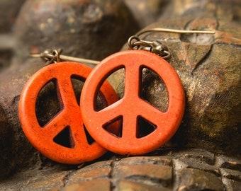 Tangerine Stone Peace earrings