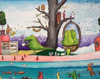 Crocodile art - cute crocodile-watercolor art- original painting-Kids wall decor-Animal painting-Children's art-cute animals