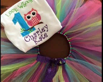 Look Whooooo's 1 Applique Birthday Tutu Set