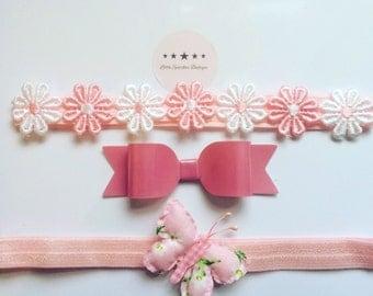 Daisy headband, butterfly headband , pink bow, hair accessories, girl headband, baby headband