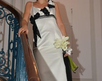 Dress wedding or evening dress, ivory and black, single