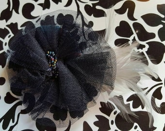 Black fascinator hat headpiece with black beads and white feathers.