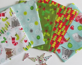 5 Owl Christmas Fat Quarter Bundle-100% Cotton, Craft & Quilting