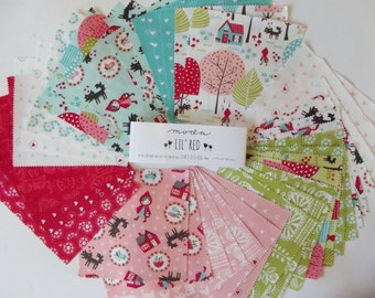 """Moda 'Lil Red 5"""" Charm Pack of 42 squares -100% cotton"""
