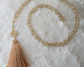 champaign crystal long necklace
