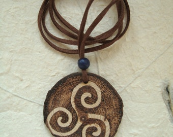 Handmade triskele pendant, woodburned, pagan, wiccan, witchcraft,  wicca, magic, wood, witch, gift,