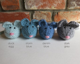 Soft Blue / Grey Hand Knitted Mouse