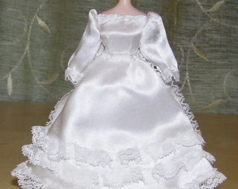 White satin wedding dress for miniature doll