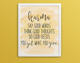 Karma, Acts of Kindness, Yellow watercolor, bohemian, yoga poster-Instant Download, Inspirational Decor, Yoga Decor, Buddhism Poster