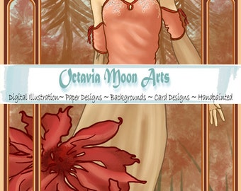 Handpainted Art Nouveau, Alfonse Mucha inspired art for gift tags, pages, borders and cards - Includes frames and bookmark - AUTUMN
