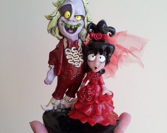 Beetlejuice and Lydia Cartoon Wedding Cake topper