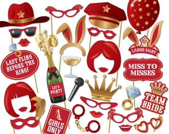Bachelorette Photo Booth Props - Printable PDF. Hen Party, Girls night Photobooth - 2003