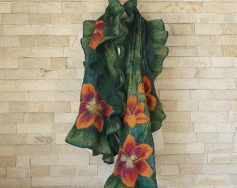 Felted Ruffle Scarf - Turquoise and Green Nuno Felted Scarf with Lilies