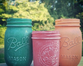 Distressed Mason jar, hand painted, hand poured soy candle