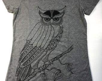 Women's Grey Owl Shirt, Women's T-shirt, Women's Tees, Owl Shirt, Grey T-shirt Medium, RTGO