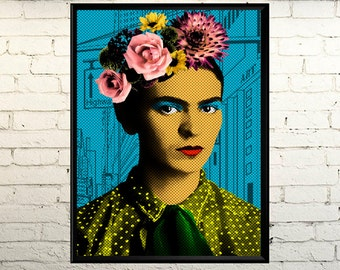 Frida Pop Art, Pop Art Portrait, Pop Art poster, Frida Kahlo de Rivera poster picture Photo, Pop Art, Frida Kahlo