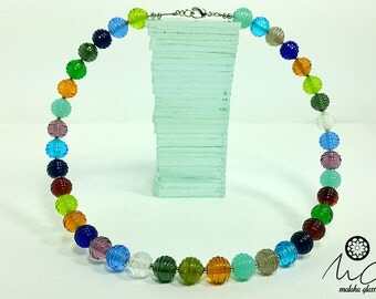 Thread necklace glass beads and memory. Lampwork Beads. Made by hand by MALAKAGLASS.