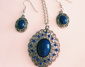 Necklace and Earring Set, Blue Stone Pendant and Earring Set