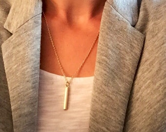 Gold charm necklace, gold rectangle necklace, long gold necklace