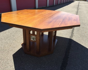 alan kaniarz custom 6sided oak dining table