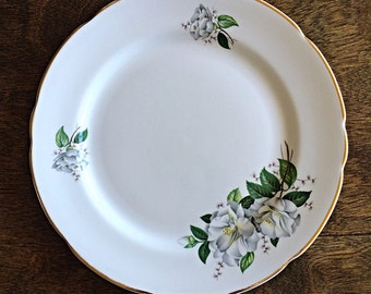 Royal Kent Bone China Salad Plate, vintage royal kent, bone china, grey floral pattern, vintage china, gray flowers, Staffordshire England