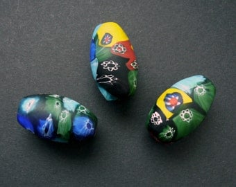 3 Vintage Trade Beads.  Vintage African Trade Beads.  Vintage Millefiori Glass Beads