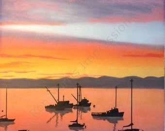 Hand drawn seascape original pastel drawing with ink  - The Harbor at Sunset - OOAK