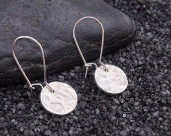 Under the Stars earrings   silver hammered disc earrings