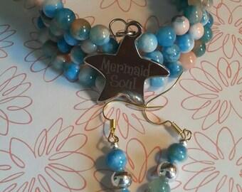 6mm Mermaid Soul Beaded Memory Wire Bracelet and Earring Set