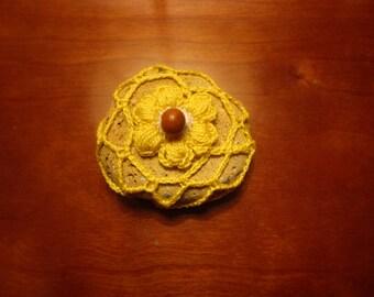 Puff flower on crochet covered stone - EmiliaCrochet